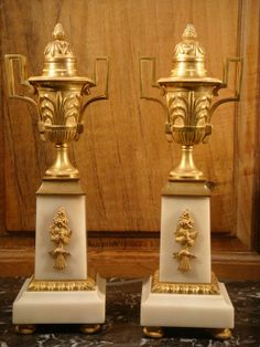 Pair Of Candlesticks Small Cassolettes XIX Century, Antiquaires David Balzeau Pascale Brion, Proantic
