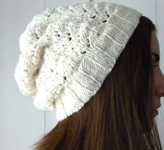 White Lace Beanie by LaceyDaisyKnits on Etsy, $37.50