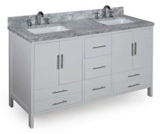 California 60-inch Solid Wood Bathroom Vanity (Carrera/White): Includes Soft Close Drawers, Self Closing Door Hinges and Double Rectangular Ceramic Sinks by Kitchen Bath Collection, http://www.amazon.com/dp/B00BFXHD2O/ref=cm_sw_r_pi_dp_eBbcsb1WRD7P6