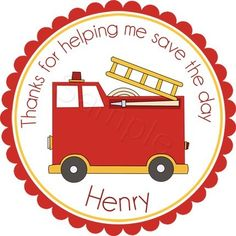 Fire Truck. Personalized stickers by partyINK.