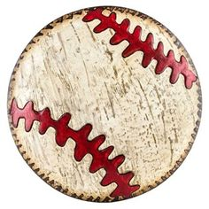 """Hit a grand slam with this fun Distressed Die-Cut Embossed Baseball Tin Plaque! This domed tin plaque features a distressed cream-colored face, distressed brown edges, and embossed classic red stitches. The perfect representation of America's favorite pastime, this sporty sign will make a stunning addition to a baseball or sports-themed bedroom, nursery or man cave! Dimensions: Width: 14 1/4"""" Hanging Hardware: 1 - Keyhole Mount"""