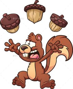 Illustration about Scared cartoon squirrel. Vector clip art illustration with simple gradients. Each element on a separate layer. Illustration of scared, acorn, cartoon - 60817313 Cartoon Drawings, Easy Drawings, Cartoon Clip, Squirrel Clipart, Clip Art, Animals Images, Vector Design, Cartoon Characters, Illustration Art