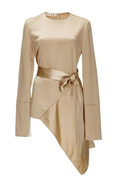Asymmetric Long Sleeved Top With Side Tie by MARNI Now Available on Moda Operandi