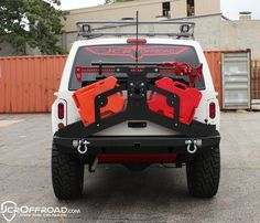 Cherokee Adventure Tire Carrier Hi-lift Mount Jeep Cherokee XJ Powdercoat JCR Offroad Jeep Xj Mods, Truck Mods, Modificaciones Jeep Xj, Jeep Truck, Jeep Wrangler, Cherokee Sport, Jeep Grand Cherokee, Cherokee Uniforms, Cherokee History