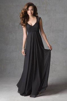 Vintage Inspired V Neck Chiffon Lace Long Bridesmaid Dress