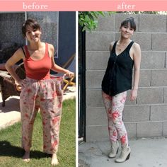 pinterest refashion clothes | DIY Clothes / floral pants refashion -- putting this on the kids board because i have no desire for floral pants  or patterned cotton pants of any kind.