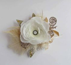 Gatsby Wrist Corsage White Ivory & Gold with Feathers by justanns, $33.00