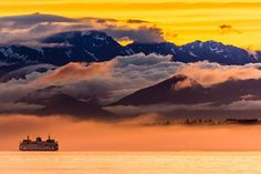"""In the morning from my bedroom,  I love hearing the fog horn of the Bainbridge Island Ferry in the distance.   """"Coming out of the Fog"""""""