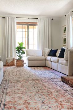 See the amazing update of a dated living room in just a day and a few easy fixes. No huge projects necessary, no major remodel, and no big budget | Home Made by Carmona #ad #revivalrugs #livingroom #decoratingtips Pinterest Home, Brown Carpet, Couch Covers, Decorating On A Budget, Window Coverings, New Furniture, Interior Styling, Diy Design, Beautiful Homes