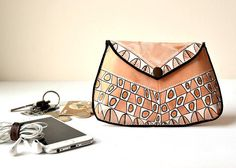Hand Painted Leather Pouch Small Wallet Clutch Hand Painted