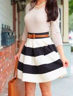 Modcloth Stripe It Lucky Skirt + Ferragamo Bice Tote - Stylish Petite Look Fashion, Womens Fashion, Fashion Trends, Ladies Fashion, Fashion Beauty, Fashion 2014, Disney Fashion, French Fashion, Dress Fashion