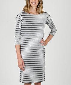 Light Gray & Navy Stripe Nursing Dress