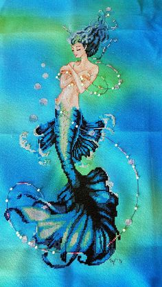 """Mirabilia Aphrodite on """"lady of the lake"""" by Sunny Dyes Fabrics. Stitched by Gina F."""