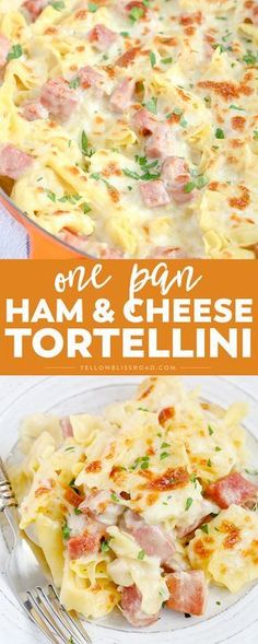 One Pan Ham & Cheese Tortellini is super creamy and flavorful, and cooked all in one pan for a quick, family-friendly weeknight meal with easy clean up. Pasta Dishes, Food Dishes, Main Dishes, Pork Recipes, Cooking Recipes, Recipes With Ham, Cooking Games, Honey Recipes, Cooking Classes