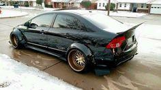 Heavily modified #Honda Civic STI #Widebody #Stance #Slammed #Black