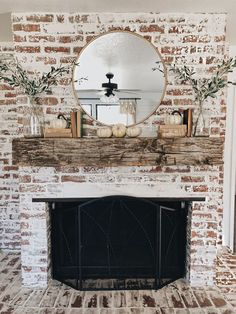 Try one of these 35 gorgeous natural brick fireplace ideas to complete your modern farmhouse or chic oceanfront / indoor living spaces on the coast. German Schmear- and White-Washed-Brick-Tutorials included. Refresh your tired, outdated fireplace Home Fireplace, Fall Mantel Decorations, Rustic House, Fireplace Design, Farmhouse Living, White Wash Brick, Farmhouse Fireplace, Fireplace Makeover, Brick Fireplace
