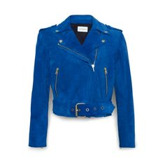 blue suede leather jacket. silver hardware.