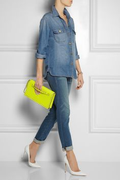 Current/Elliott | The Perfect denim shirt | Frame Denim | Le Garcon mid-rise slim boyfriend jeans | Gianvito Rossi | Leather pumps | Valentino | The Rockstud leather clutch