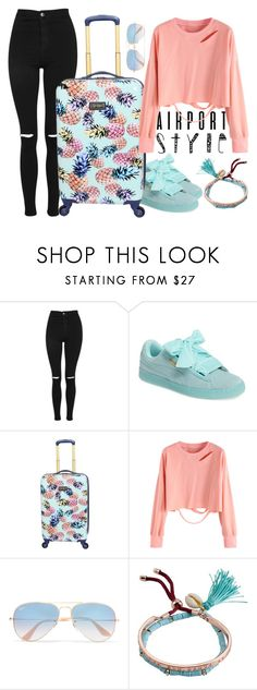 """Airport outfit"" by amaliadw ❤ liked on Polyvore featuring Topshop, Puma, Ray-Ban, Billabong, casual, peach and mint"
