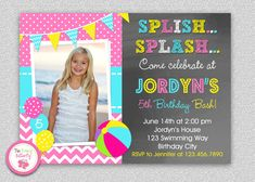 Pool Party Birthday Invitation New Pool Party Birthday Invitation Girl Pool Party Invite Pool Party Favors, Pool Party Kids, Pool Party Decorations, Party Favor Bags, Pool Parties, Goody Bags, Beach Party, Birthday Invitation Card Template, Pool Party Birthday Invitations