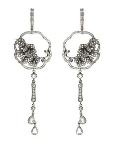 18ct white gold, diamond and rhodium plate Imperial Fan earrings by Dickson Yewn for Annoushka.