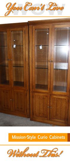 Calling All Curio Cabinet Fans! We Have A Pair Of Mission Style Curio  Cabinets