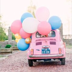 Float away in this balloon-filled bug. PC: @youriclaessens #weddingchicks #getawaycar #weddingballoons #wedding