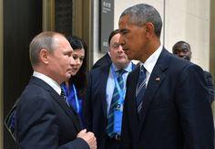 El presidente ruso, Vladímir Putin y su homólogo estadounidense, Barack Obama, se saludan al inicio de una reunión celebrada en la cumbre del G20 en Hangzhou, este de China, hoy, 5 de septiembre de 2016. Las negociaciones entre Estados Unidos y Rusia...