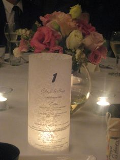 Candle Menu - great idea for wedding tables
