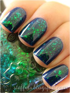 """One coat of Nfu-Oh: 56 over Revlon: Royal. So so pretty. The Flakies are very """"glowy"""" in the sun."""
