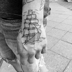 50 Outline Tattoos For Men - Silhouette Design Ideas - Manly Outline Sailing Ship Hand Tattoo Design Ideas For Men - Half Sleeve Tattoos Designs, Tattoo Designs And Meanings, Small Tattoo Designs, Tattoo Designs Men, Small Flower Tattoos, Cool Small Tattoos, Unique Tattoos, Easy Tattoos, Henna Tattoos