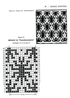 Mosaic Knitting Barbara G. Walker (Lenivii gakkard) Mosaic Knitting Barbara G. Intarsia Patterns, Fair Isle Knitting Patterns, Knitting Charts, Mosaic Patterns, Knitting Stitches, Stitch Patterns, Crochet Patterns, Crochet Cross, Crochet Chart