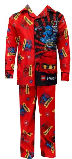 LEGO Ninjago Masters of Spinjitzu Lloyd Garmadon Pajamas  Description: Watch out, Lord Garmadon! Lloyd Garmadon and his fellow Ninjago Spinjitsu Masters are coming for you! These flame resistant button front coat style pajamas for boys feature the LEGO Ninjago characters Kai, Jay, Cole and Zane with superb graphics. Soft brushed poly fabric. Perfect for the LEGO Ninjago fan in your house! $20