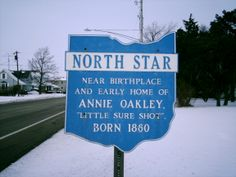 North Star, OH (Darke County) - An Annie Oakley marker next to U.S. Route 127 on the south side of town.