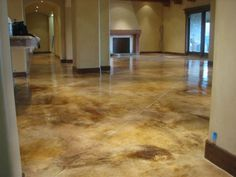 Stained concrete: we'll see it a lot. Basement floor- stained/polished concrete to look like marble. Painted Concrete Floors, Painting Concrete, Stain Concrete, Cement Floors, Acid Stained Concrete Floors, Concrete Floor Paint Colors, Floor Painting, Painting Doors, Plywood Floors