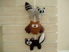 woodland nursery wall art, felt garland, baby shower gift, raccoon, owl, skunk, brown, black, gray felt