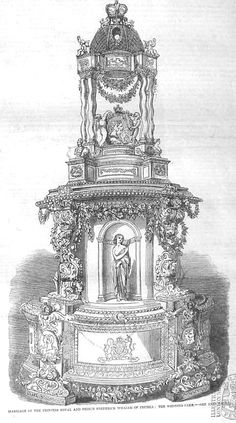 Sketch of the wedding cake of Princess Victoria of England and Frederick William of Prussia from 1858.