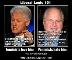 Feminists view on conservatives and liberals (that comment about Clinton forcing himself on women sounds a bit off, is that true???)