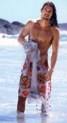 Jason Mamoa.   I see the beach and think Mason from Kristin Ashley's Rock Chick series.