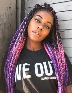 Long Box Braids: 67 Hairstyles To Upgrade Your Box Braids - Hairstyles Trends Purple Box Braids, Cute Box Braids, Box Braids Updo, Ombre Box Braids, Box Braid Hair, Colored Box Braids, Short Box Braids, Blonde Box Braids, Black Girl Braids