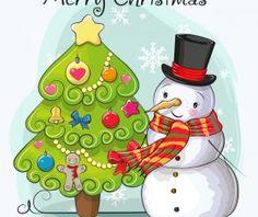 Cartoon christmas tree with xmas elements vector 10