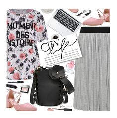 """""""Plus Size"""" by beebeely-look ❤ liked on Polyvore featuring Elvi, Bobbi Brown Cosmetics, Lancôme, Burberry, pleatedskirts, sammydress, plussize, curvy and statementtshirt"""