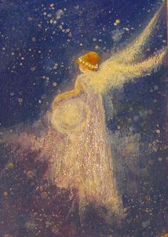 ACEO Original Angel Painting Energy by Breten Bryden, BrydenArt.com #Impressionism