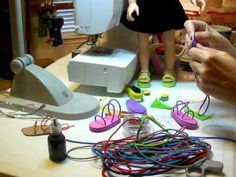 "▶ How to Make Doll Shoes Foam Sandals -  elastics, foam, hot & ultimate glue (thread button through), eyelets (1/8""), universal eyelet setter"