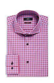 'Jaser' | Slim Fit, Spread Collar Easy Iron Cotton Check Dress Shirt #bossblack