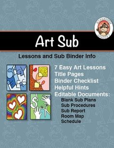 This packet of editable documents, easy art lesson and sub binder organizers will help get you on the way to worry free art sub plans. Art Substitute Plans, Art Sub Plans, Art Lesson Plans, The Plan, How To Plan, Easy Art Lessons, Art Lessons Elementary, Middle School Art, Art School