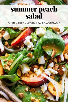 This summer peach salad with almonds and feta cheese is the ultimate summer salad Made with tender salad greens sweet peaches toasted almonds salty feta cheese and dresse. Salad Recipes For Dinner, Salad Dressing Recipes, Easy Salads, Summer Salads, Healthy Salads, Delicious Vegan Recipes, Healthy Recipes, Paleo Vegan, Vegan Meals