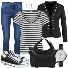 Freizeit Outfits: SchwarzGestreift bei FrauenOutfits.de Mode Outfits, Outfits For Teens, Cooler Style, Mom Fashion, Fashion Outfits, Pullover, Blazer, Mom Style, Stitch Fix