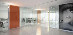 Esedra Italian glass partition wall by Castelli: maximum design freedom