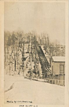 A View Of The Incline Railway in Winter, Sea Cliff, L.I. New York NY RPPC